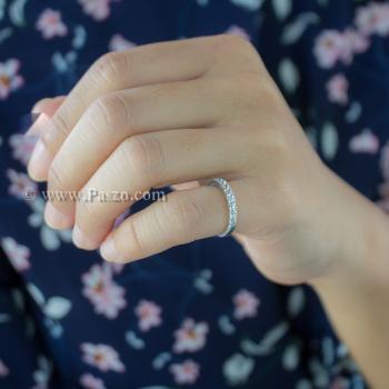 แหวนเพชร พลอย5เม็ด แหวนเงินแท้ #3