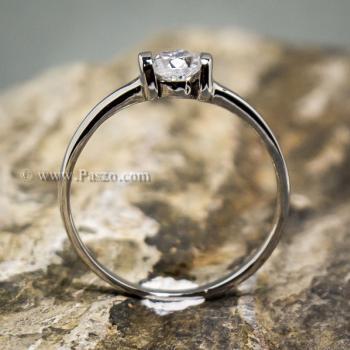 แหวนพลอยเม็ดเดี่ยว แหวนเพชร แหนเงินแท้ #4