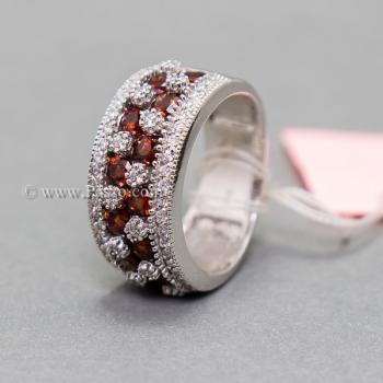 แหวนพลอยโกเมน พลอยสีแดง แหวนเพชร #2