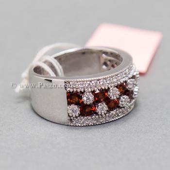 แหวนพลอยโกเมน พลอยสีแดง แหวนเพชร #5