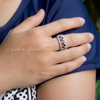 แหวนพลอยโกเมน พลอยสีแดง แหวนเพชร #3