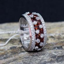 แหวนพลอยโกเมน พลอยสีแดง แหวนเพชร แหวนเงินแท้