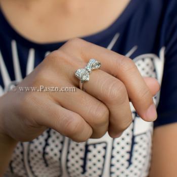 แหวนโบว์ แหวนเพชร แหวนเงินแท้ #6