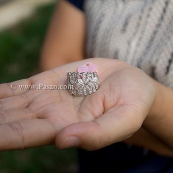 แหวนเพชร แหวนดอกไม้ แหวนเงินแท้ #2