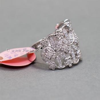 แหวนเพชร แหวนดอกไม้ แหวนเงินแท้ #4