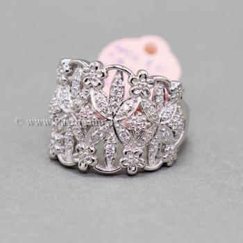 แหวนเพชร แหวนดอกไม้ แหวนเงินแท้ #3