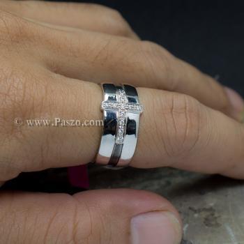 แหวนเพชร แหวนไม้กางเขน แหวนเงินแท้ #2