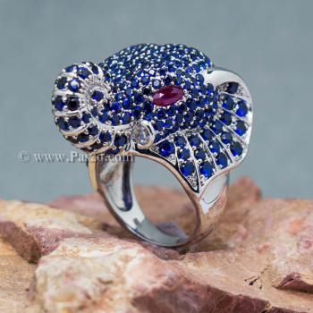 แหวนช้าง แหวนพลอยไพลิน พลอยสีน้ำเงิน #7