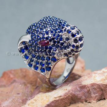 แหวนช้าง แหวนพลอยไพลิน พลอยสีน้ำเงิน #6
