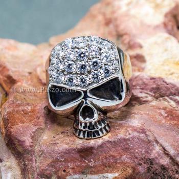แหวนหัวกะโหลก แหวนเงิน ฝังเพชร #5