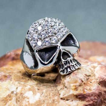 แหวนหัวกะโหลก แหวนเงิน ฝังเพชร #2