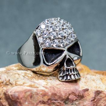 แหวนหัวกะโหลก แหวนเงิน ฝังเพชร #3