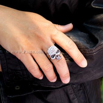แหวนหัวกะโหลก แหวนเงิน ฝังเพชร #6