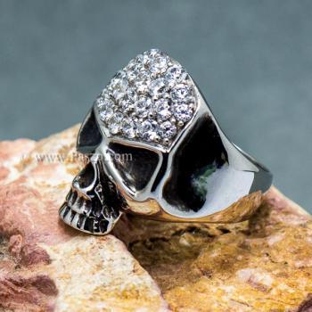 แหวนหัวกะโหลก แหวนเงิน ฝังเพชร #4