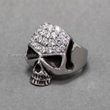แหวนหัวกะโหลก แหวนเงิน ฝังเพชร แหวนเพชร