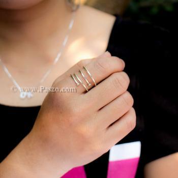 แหวนเส้นเงิน แหวนเงินแท้ แหวนฟรีไซส์ #4