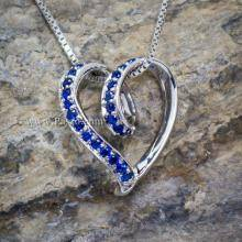จี้พลอยไพลิน จี้เงินแท้ จี้รูปหัวใจ พลอยสีน้ำเงิน จี้หัวใจไร้ห่วง