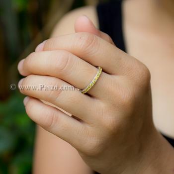 แหวนพลอยบุษราคัม ฝังพลอยรอบวง พลอยสีเหลือง #2