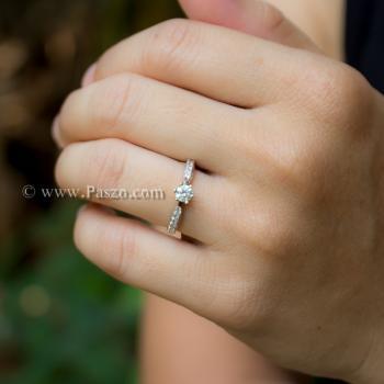 แหวนเพชร แหวนหัวชู แหวนเงินแท้ #2