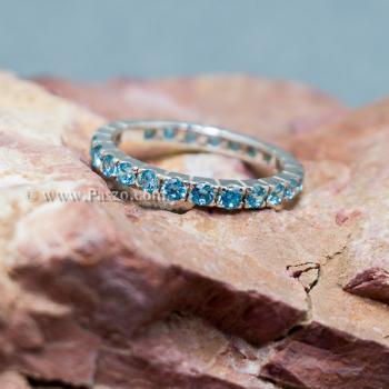 แหวนพลอยสีฟ้า ฝังพลอยเกือบรอบวง แหวนเงินแท้ #3