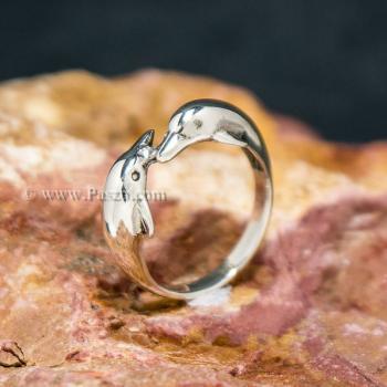 แหวนปลาโลมาคู่ แหวนเงินแท้  #3