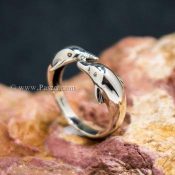 แหวนปลาโลมาคู่ แหวนเงินแท้  #2