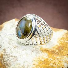 แหวนหินลาบราดอไรท์ แหวนฉลุลายตาข่าย แหวนเงินแท้ แหวนผู้ชาย