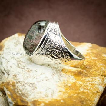 แหวนแก้วโป่งข่าม แหวนทรงมอญแกะลาย แหวนผู้ชาย #4