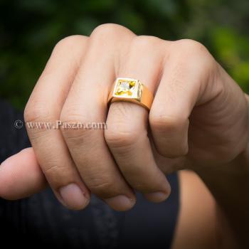 แหวนพลอยสีเหลือง บุษราคัม แหวนทองชุบ #4