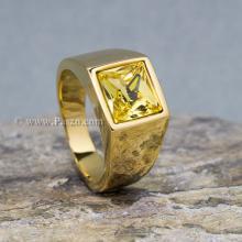 แหวนพลอยสีเหลือง บุษราคัม แหวนทองชุบ แหวนผู้ชาย