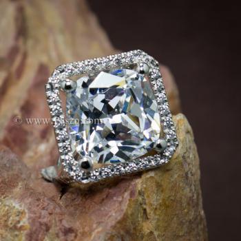 แหวนเงินฝังเพชร แหวนเพชร เม็ดใหญ่ #3