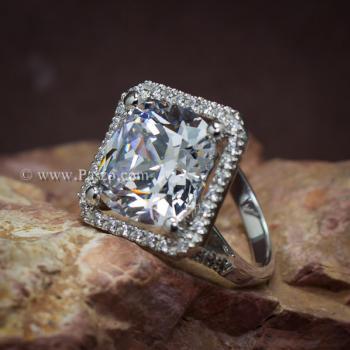 แหวนเงินฝังเพชร แหวนเพชร เม็ดใหญ่ #2