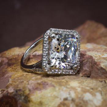 แหวนเงินฝังเพชร แหวนเพชร เม็ดใหญ่ #7
