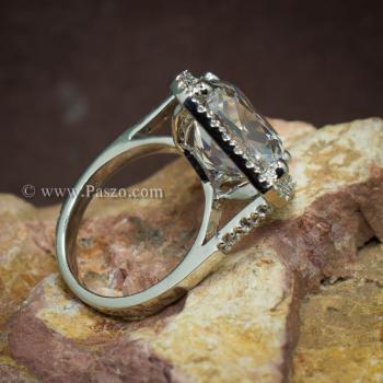 แหวนเงินฝังเพชร แหวนเพชร เม็ดใหญ่ #6