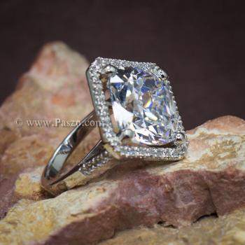 แหวนเงินฝังเพชร แหวนเพชร เม็ดใหญ่ #5