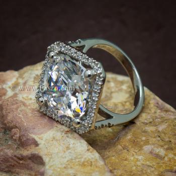 แหวนเงินฝังเพชร แหวนเพชร เม็ดใหญ่ #4