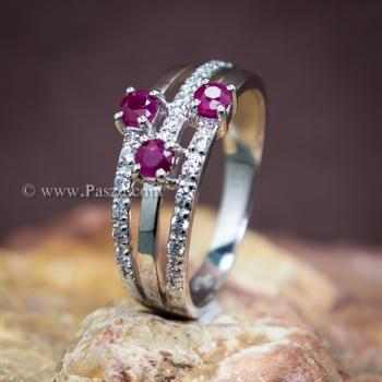 แหวนพลอยทับทิม พลอยแท้ ประดับเพชร #4