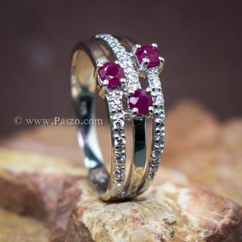 แหวนพลอยทับทิม พลอยแท้ ประดับเพชร #5