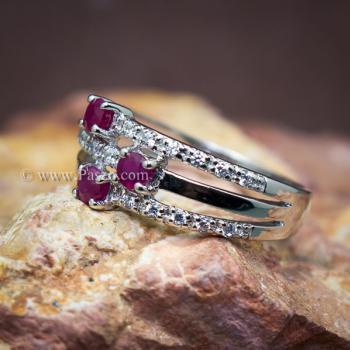 แหวนพลอยทับทิม พลอยแท้ ประดับเพชร #3