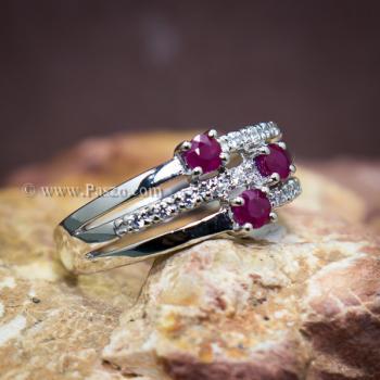 แหวนพลอยทับทิม พลอยแท้ ประดับเพชร #2