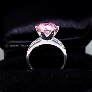 แหวนพลอยสีชมพู บ่าแหวนฝังเพชร แหวนเงินแท้ #3