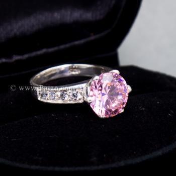 แหวนพลอยสีชมพู บ่าแหวนฝังเพชร แหวนเงินแท้ #2