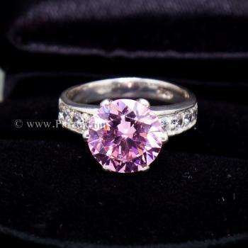 แหวนพลอยสีชมพู บ่าแหวนฝังเพชร แหวนเงินแท้ #5