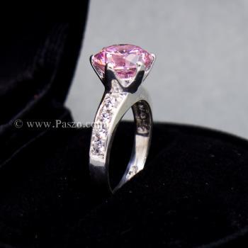 แหวนพลอยสีชมพู บ่าแหวนฝังเพชร แหวนเงินแท้ #4
