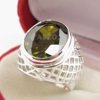 แหวนพลอยเขียวส่อง พลอยสีเขียวมะกอก แหวนพลอยผู้ชายฉลุลาย #3