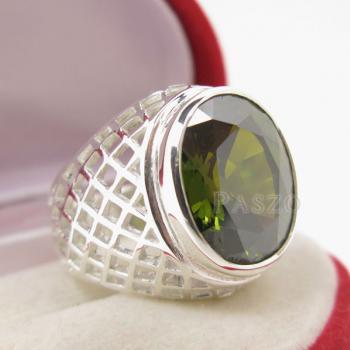 แหวนพลอยเขียวส่อง พลอยสีเขียวมะกอก แหวนพลอยผู้ชายฉลุลาย #6