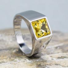 แหวนพลอยสีเหลือง บุษราคัม แหวนสแตนเลส แหวนผู้ชาย