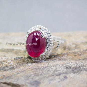 แหวนทับทิม แหวนเงินแท้ บ่าแหวนฝังเพชร #2