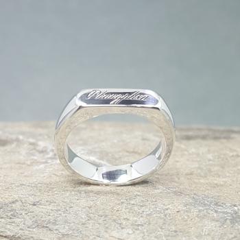 แหวนเงิน แหวนหน้าปาด แหวนสลักชื่อ #5
