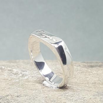 แหวนเงิน แหวนหน้าปาด แหวนสลักชื่อ #6